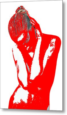 Red Drama Metal Print by Naxart Studio
