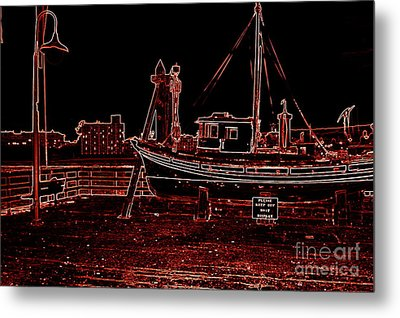 Red Electric Neon Boat On Sc Wharf Metal Print by Garnett  Jaeger