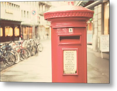 Red English Post Box In Lucerne, Switzerland Metal Print by Copyright Laura Evans. All Rights Reserved.