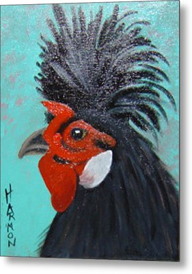 Red Faced Rooster Metal Print