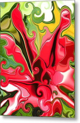 Red Fantasy Lily Metal Print by Renate Nadi Wesley