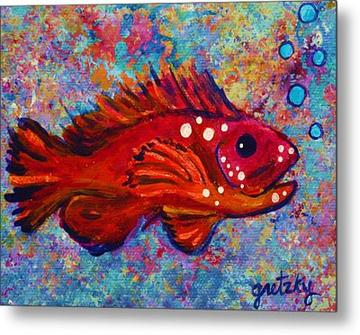 Red Fish Metal Print by Paintings by Gretzky