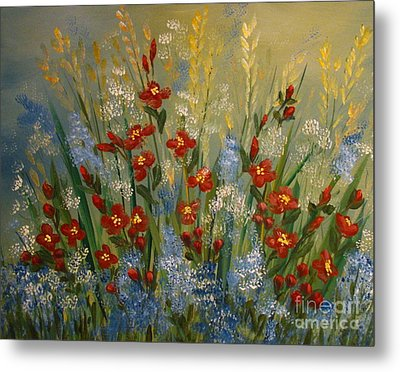 Red Flowers In The Garden Metal Print