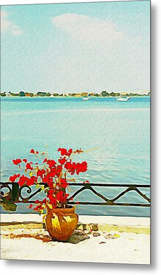 Red Flowers On The Bay Metal Print by Joan McArthur