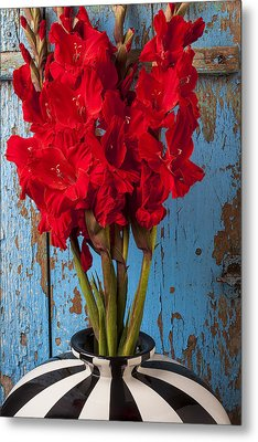 Red Glads Against Blue Wall Metal Print by Garry Gay