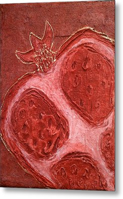 Metal Print featuring the painting Red Gold Juicy Thick Textured Cut Pomegranate With Seeds by M Zimmerman