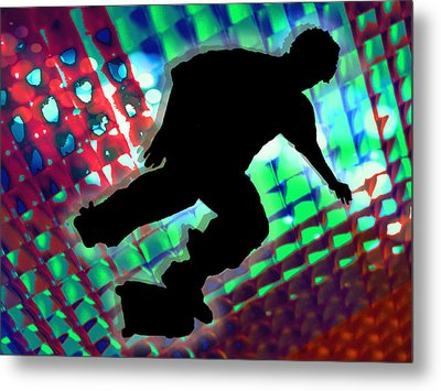 Red Green And Blue Abstract Boxes Skateboarder Metal Print by Elaine Plesser