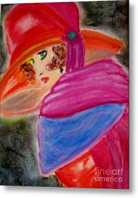 Metal Print featuring the painting Red Hat by Lori  Lovetere