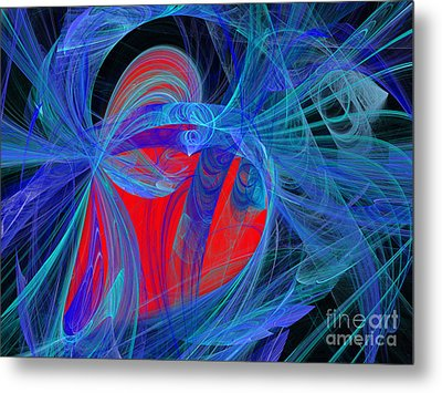 Red Heart Blue Lace Metal Print by Andee Design
