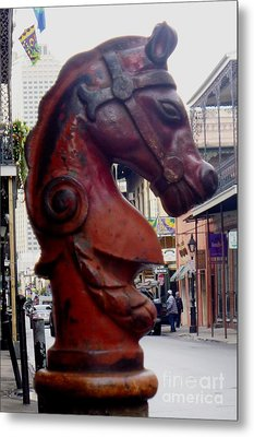 Metal Print featuring the photograph Red Horse Head Post by Alys Caviness-Gober