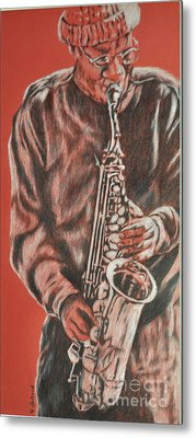 Red Hot Sax Metal Print
