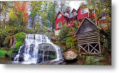 Red House By The Waterfall 2 Metal Print