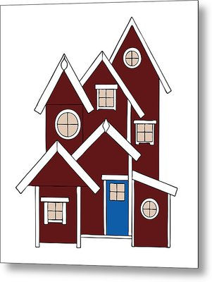 Red Houses Metal Print by Frank Tschakert