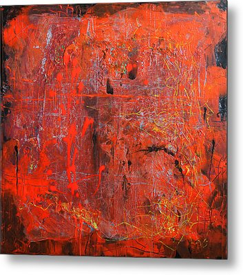 Metal Print featuring the painting Red Ice by Lolita Bronzini