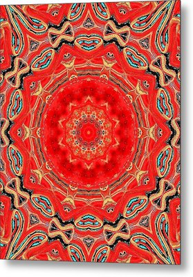 Metal Print featuring the painting Red Kalideoscope by Carolyn Repka