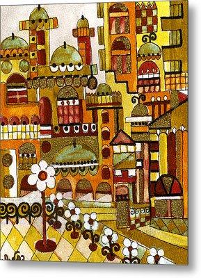 Red Kasba Skyline Landscape Art Of Old Town Dome And Minarett Decorated With Flower Arch In Orange Metal Print by Rachel Hershkovitz