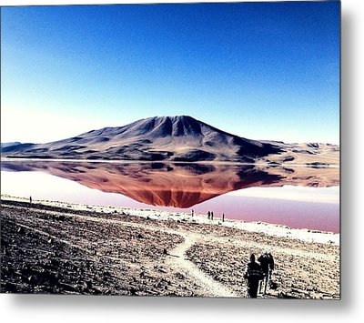 Red Lake Reflection Metal Print by Jade Sayers