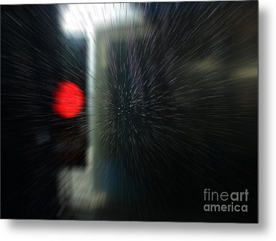 Metal Print featuring the photograph Red Light In The Car Wash Blurred by Nareeta Martin