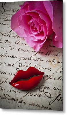 Red Lips On Letter Metal Print by Garry Gay