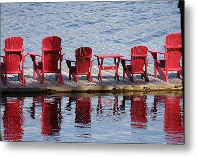 Red Muskoka Chairs Metal Print by Carolyn Reinhart