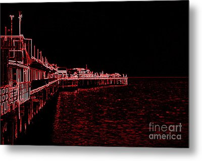 Metal Print featuring the photograph Red Neon Wharf by Garnett  Jaeger