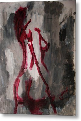 Red Nude Young Female Girl In Shades Of Melting Grey Contemporary Modern Painting Metal Print by M Zimmerman