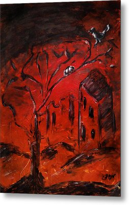 Metal Print featuring the painting Red Orange Yellow Sunset With Bird Nest Castle And Tree Silhouette by M Zimmerman