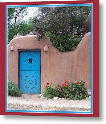 Red Poppies Blue Door Metal Print by Susan Alvaro