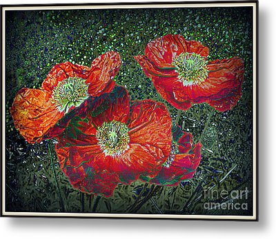 Metal Print featuring the mixed media Red Poppies by Irina Hays