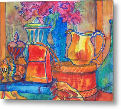 Red Purse And Blue Line Metal Print