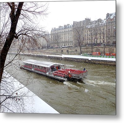 Red Riverboat On The Seine Metal Print by Amelia Racca