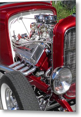 Red Roadster Hot Rod Fine Art Photo Metal Print by Sven Migot