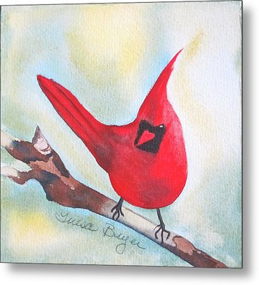Metal Print featuring the painting Red Robin by Teresa Beyer
