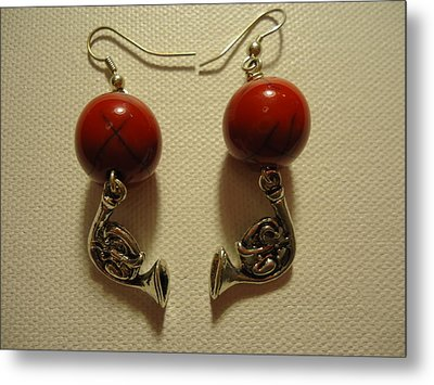 Red Rocker French Horn Earrings Metal Print