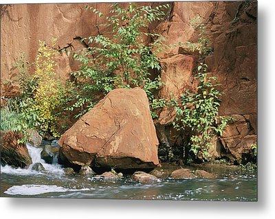 Red Rocks, Fall Colors And Creek, Oak Metal Print by Rich Reid