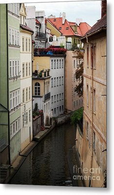 Red Rooftops In Prague Canal Metal Print by Linda Woods