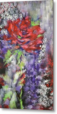 Metal Print featuring the painting Red Rose In Winter by Kathleen Pio