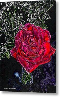 Red Rose Metal Print by Robert Goudreau