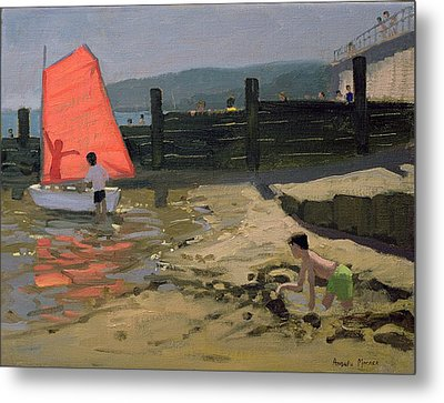 Red Sail Isle Of Wight Metal Print by Andrew Macara