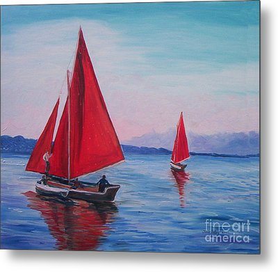 Metal Print featuring the painting Red Sails On Irish Coast by Julie Brugh Riffey