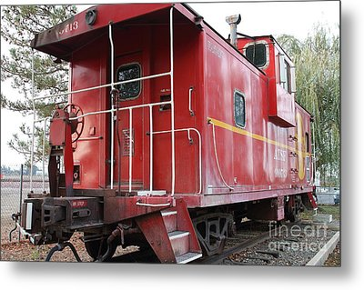 Red Sante Fe Caboose Train . 7d10330 Metal Print by Wingsdomain Art and Photography