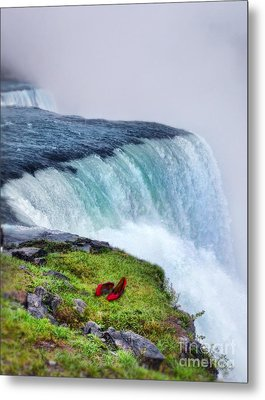 Red Shoes Left By The Falls Metal Print by Jill Battaglia
