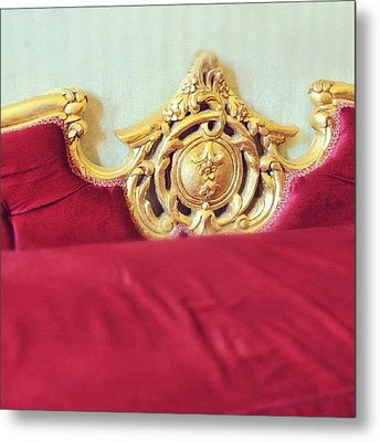 Red Sofa Metal Print
