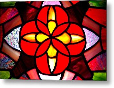 Red Stained Glass Metal Print by LeeAnn McLaneGoetz McLaneGoetzStudioLLCcom