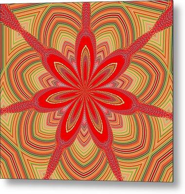 Metal Print featuring the digital art Red Star Brocade by Alec Drake