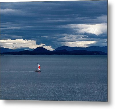 Metal Print featuring the photograph Red Star Sail by Lorraine Devon Wilke