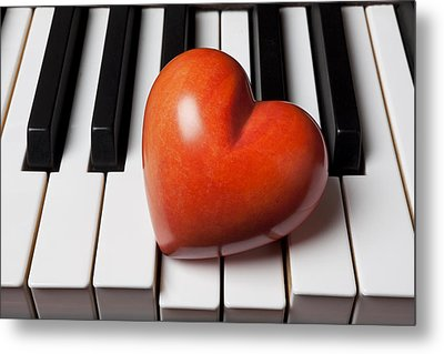 Red Stone Heart On Piano Keys Metal Print