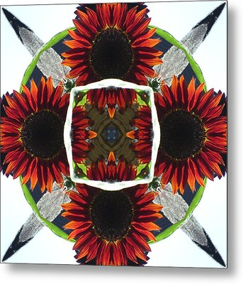 Red Sunflower And Feather Metal Print by Trina Stephenson