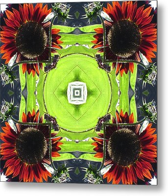 Metal Print featuring the digital art Red Sunflowers In A Square by Trina Stephenson