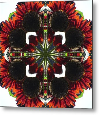Metal Print featuring the digital art Red Sunflowers by Trina Stephenson
